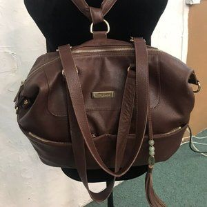 Lily Jade Diaper Bag Brown Leather With Red Insert